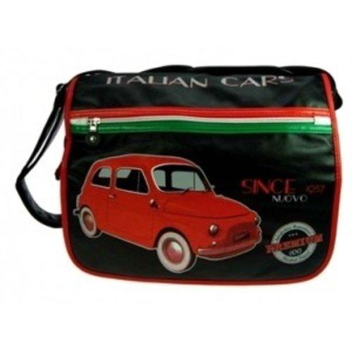 Grote schoudertas met een rode Fiat 500 afbeelding
