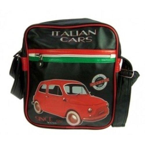 Schoudertas met een rode Fiat 500 afbeelding