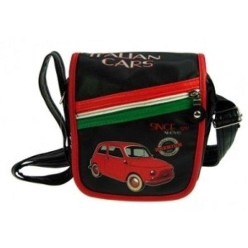 Kleine Schoudertas met schuine rits en een rode Fiat 500 afbeelding.