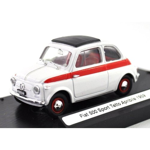 Fiat 500 Sport Tetto Apribile 1959 Wit-Rood 1:43
