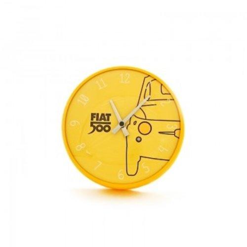 Fiat 500 wandklok geel.