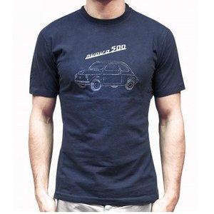 Fiat 500 blauw heren T-shirt maat M