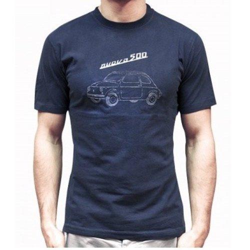 Fiat 500 blauw heren T-shirt maat L