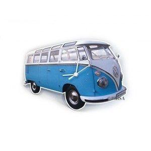 Volkswagen klassieke T1 blauwe wandklok