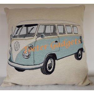 Volkswagen VW T1 Bus hellblau Dekokissen 45x45 cm