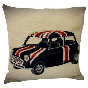 Mini Cooper Engelse vlag sierkussen 45x45 cm