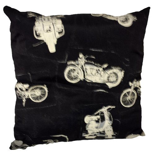 Harley Davidson zwarte sierkussen 45x45 cm