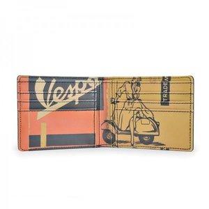 Vespa vintage portemonnee met opdruk (oranje/geel)
