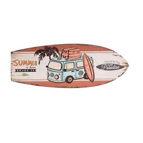 Houten wandbord surfplank met bus en tekst Summer is here
