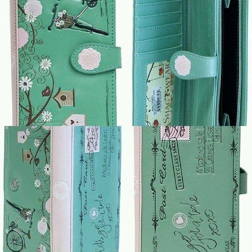 Grote groene damesportemonnee Vintage Post Card