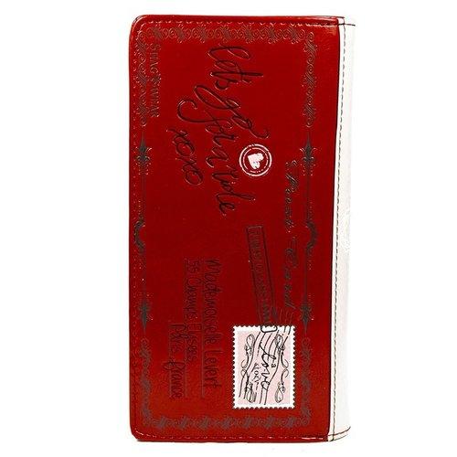 Grote rode damesportemonnee Vintage Post Card