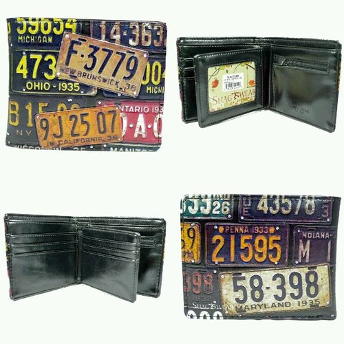 Compacte heren portemonnee Vintage License Plates
