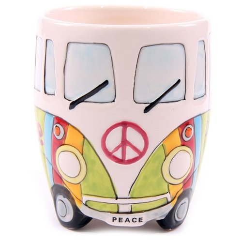 Flower Power VW camper mokken groen