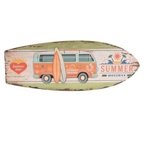 Houten wandbord surfplank met bus en tekst Summer Holiday