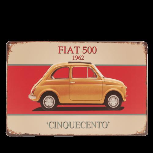 """FIAT 500 1962 """"Cinquecento"""" metalen deurplaat/wandplaat"""