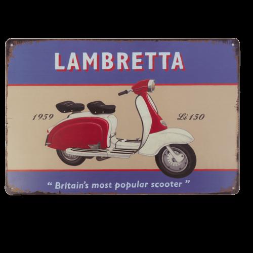 """Lambretta """"Britain's most popular scooter"""" metalen deurplaat/wandplaat"""