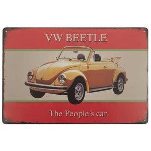 VW Beetle The People's car metalen deur/wandplaat