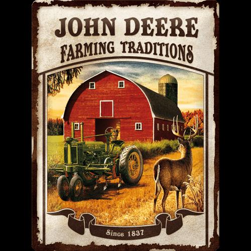 John Deere Farming Traditions metal postcard 30x40