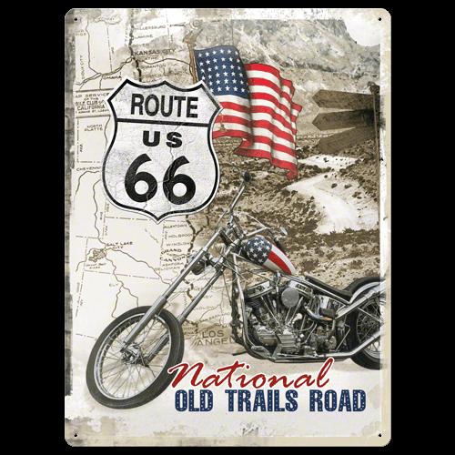 Route US 66 met motor metal postcard 30x40