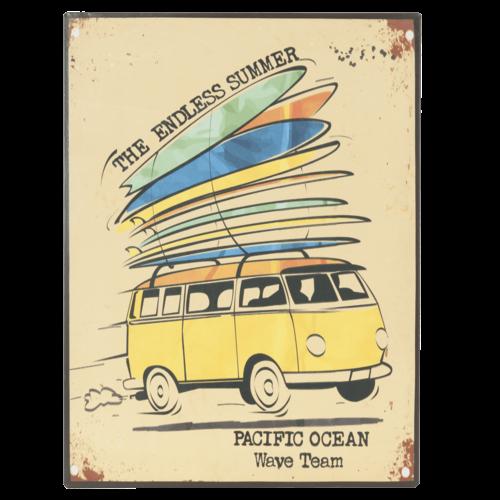 Bus met surfplanken metalen bord 30x40