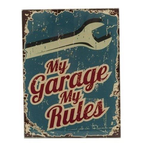 My Garage My Rules glazen tekstbord