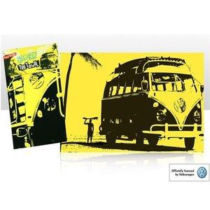 Volkswagen T1 geel katoenen theedoek