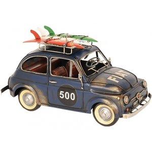 Blauwe FIAT 500 1968 metalen miniatuurauto
