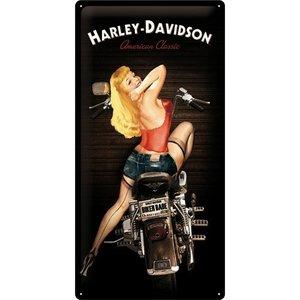 Harley Davidson Biker Babe metalen wandplaat