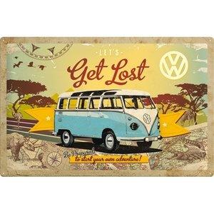 Volkswagen Bulli T1 Lets Get Lost metalen wandplaat 40x60 cm