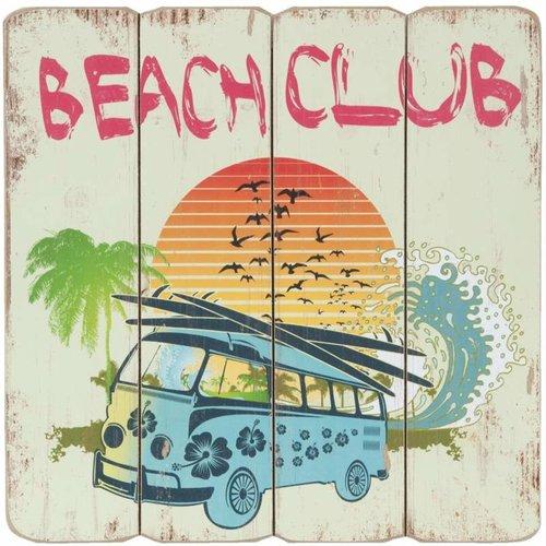 Volkswagen bus Beach Club houten decoratiebord.