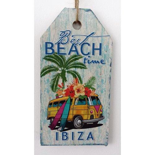 Ibiza Best Beach Time bus houten tekstbord small
