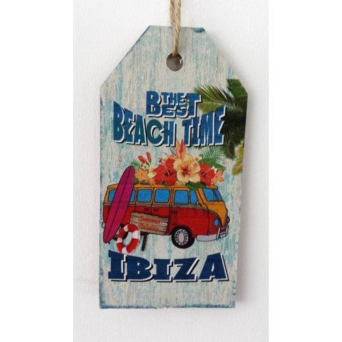 Ibiza The Best Beach Time bus houten tekstbord small