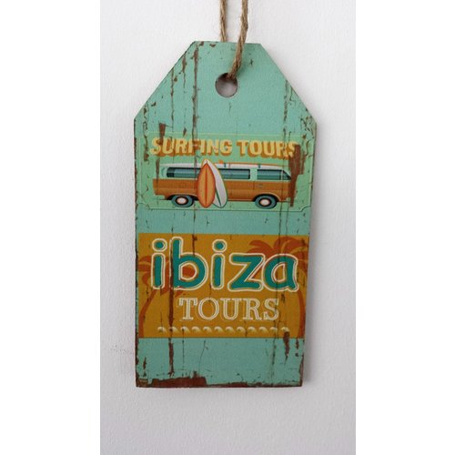 Ibiza Surfing Tours bus houten tekstbord medium