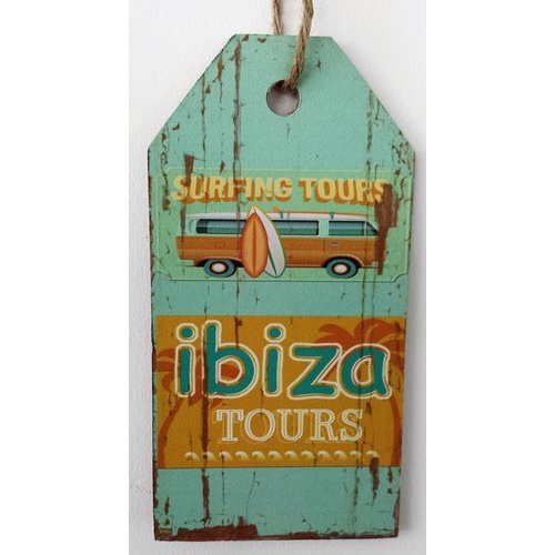 Ibiza Surfing Tours bus houten tekstbord large