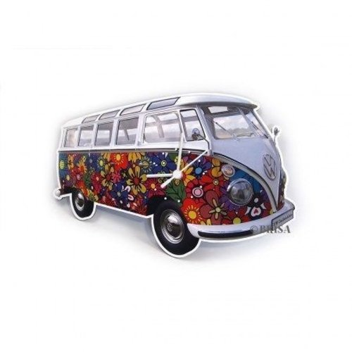 Volkswagen klassieke T1 bus Flower Power wandklok