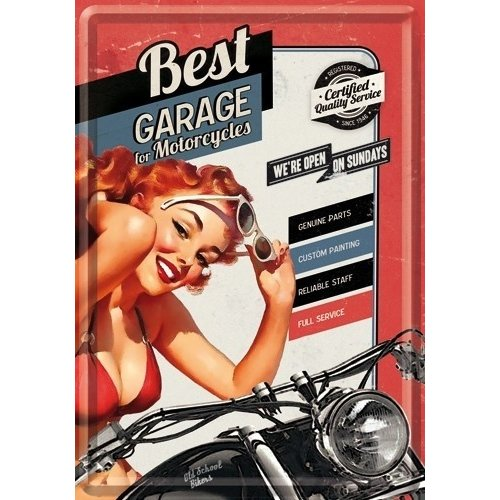 Best Garage we're open on sundays metalen postcard
