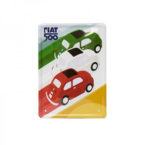 Fiat 500 metalen card Tricolore 15x21 cm