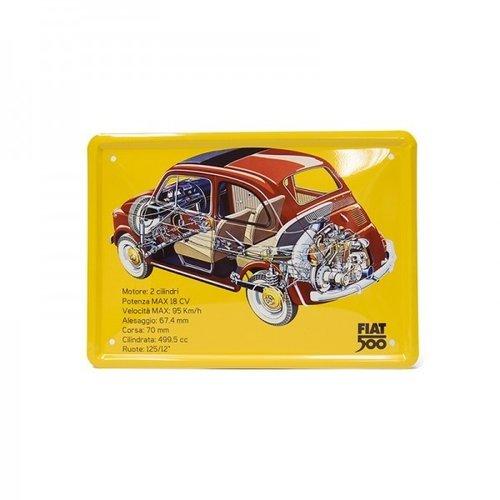 Fiat 500 Outline metalen card 15x21 cm