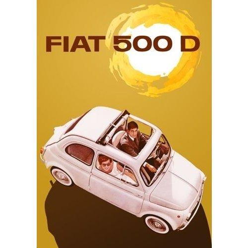 Fiat 500 D Sun metalen ansichtkaart 15x21 cm