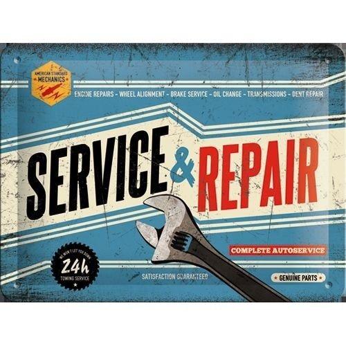 Service & Repair metalen plaat 20x15 cm