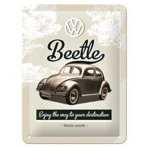 VW Beetle Think small metalen plaat 20x15 cm
