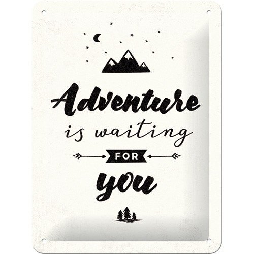 Adventure Is Waiting For You metalen wanddecoratie 15x20 cm