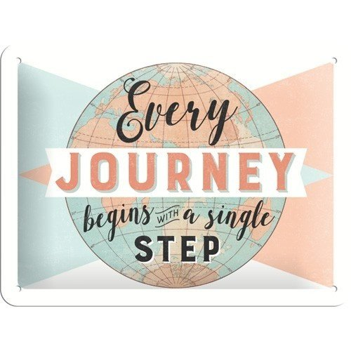 Every Journey Begins With A Single Step metalen wanddecoratie 15x20 cm