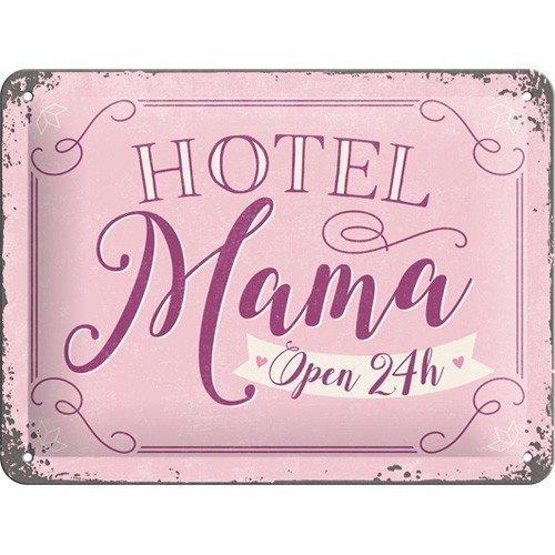 Hotel Mama Open 24h metalen wanddecoratie 15x20 cm