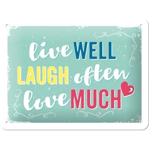 Live Well Laugh Often Love Much metalen wanddecoratie 15x20 cm