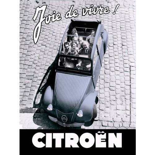 Citroën 2CV Joie de Vivre metalen wanddecoratie 30x20 cm
