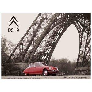 Citroën DS19 1960 Paris Tour Eiffel metalen wanddecoratie 20x30 cm