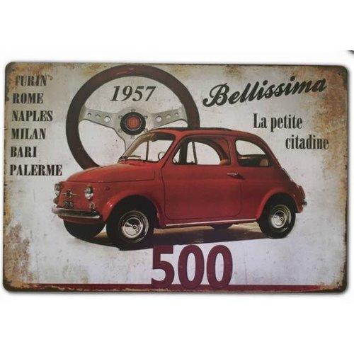 Fiat 500 1957 'Bellissima' le petite citadine wanddecoratie 20x30 cm