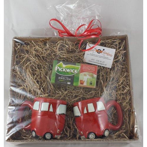 Cadeau set rode retro auto mokken