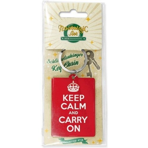 Sleutelhanger Keep Calm and Carry On 6x4,5 cm